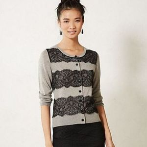 Anthropologie Lace Ruled Cardigan Sweater